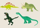 Vector cartoon characters of dinosaurs illustration