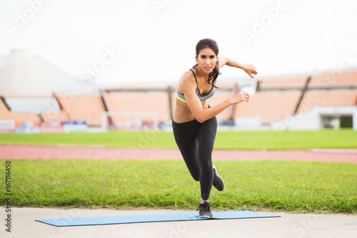 Poster Asian women Outdoor exercise, athletic field