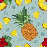 Ananasowa tropikalna bezszwowych wektorowych wzór