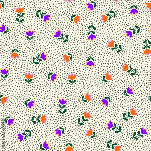 Cotton fabric Simple cute pattern in small-scale flowers. Calico millefleurs. Floral seamless background for textile or book covers, manufacturing, wallpapers, print, gift wrap and scrapbooking.
