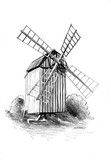 windmill old retro vintage drawing - 167118429