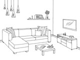 Living room graphic black white interior sketch illustration vector - 167123848