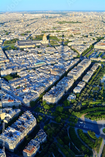 Tuinposter Parijs Great view of Paris from the third floor of the Eiffel Tower, which projects the shadow over the city.