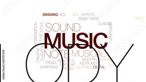 Music animated word cloud, text design animation. Kinetic typography. © ibreakstock