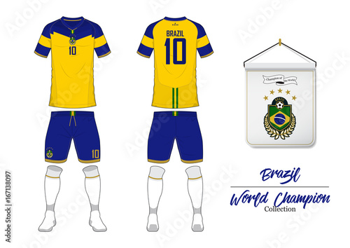 Soccer jersey or football kit in World Championship Collection. Brazil football national team. Football logo with house flag. Sport shirt mock up. Front and rear soccer uniform. Vector Illustration.