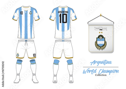 Soccer jersey or football kit in World Championship Collection. Argentina football national team. Football logo with house flag. Front and rear soccer uniform. Vector Illustration.