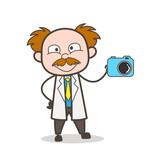Cartoon Scientist Showing New Modern Camera Vector - 167141884