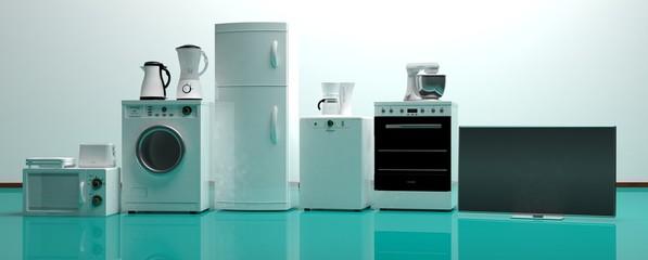 Set of home appliances on a green floor. 3d illustration © viperagp