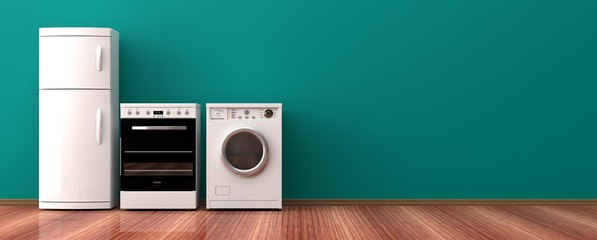 Home appliances on a wooden floor. 3d illustration © viperagp