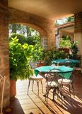 open terrace cafe in italian village, Italy