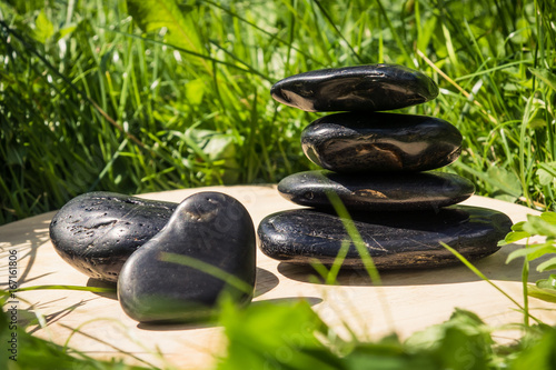 Staande foto Spa Spa style - black pebbles on the green background