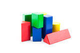 toy wood block multicolor building construction bricks isolated on white background. - 167166064