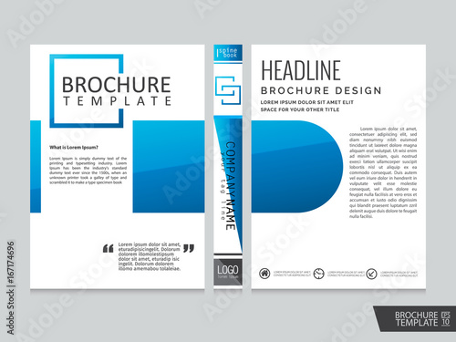 Blue brochure template . Portfolio layout background.Cover book . Poster design.Flyers report business magazine poster and portfolio layout. - 167174696