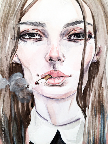 Fashionable illustration. sketch. Girl with a cigarette - 167176808