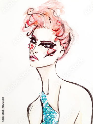 Fashionable illustration. sketch. watercolor. a haircut - 167176813