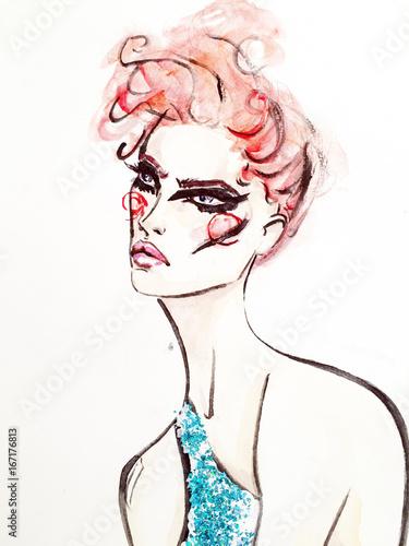 Fashionable illustration. sketch. watercolor. a haircut - 167176813