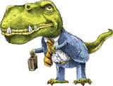 A cartoon Tyrannosaurus Rex dinosaur dressed as a businessman in a suit.