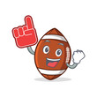 American football character cartoon with foam finger - 167177855