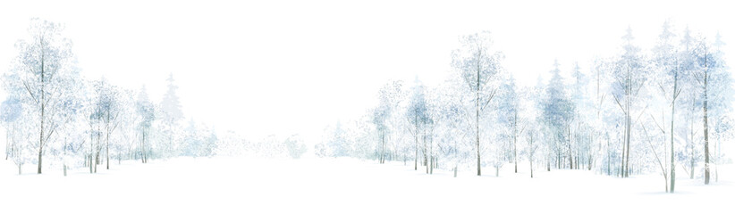 Vector winter  forest background, isolated on white.