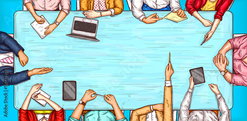 Vector pop art illustration of a man and a woman sitting at a negotiation table top view, concept of brainstorming