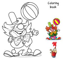 Circus clown artist with ball. Coloring book. Cartoon vector illustration