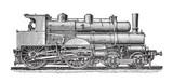 Fototapeta Old steam locomotives - vintage illustration
