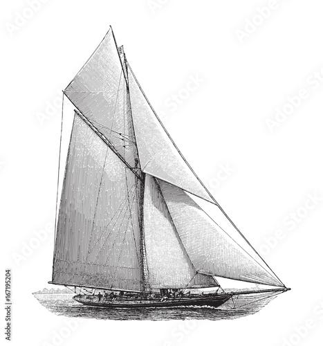 Old sailing boat - vintage illustration