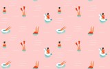 Hand drawn vector abstract cartoon summer time fun illustration seamless pattern with swimming people isolated on pink background - 167196214