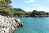 Turquoise water, rocks and forest. Wild coast in Croatia. - 167199299