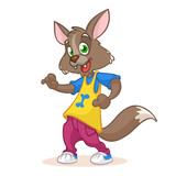 Dancing Wolf mascot: funny dancing wolf, disco style, cartoon character. Vector illustration