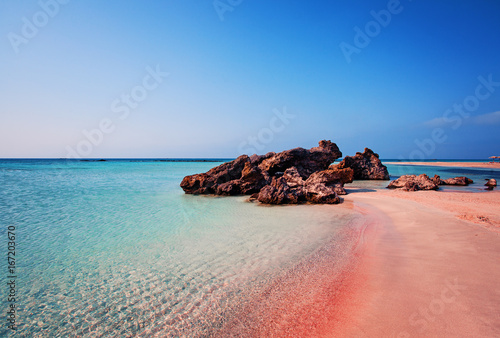 Beauty of Nature. Beautiful Elafonissi Beach with Pink Sand on Crete, Greece