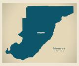 Modern Map - Monroe Alabama county USA illustration