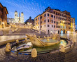 Night view of Spanish Steps in Rome, Italy.