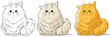 Cartoon cute sitting big cat vector set - 167214276