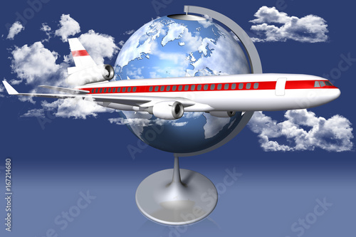 Aeroplano in primo piano. Sfondo mappamondo cielo e nuvole.