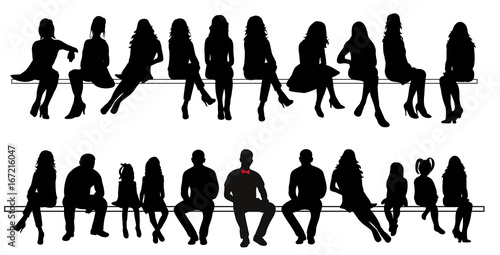 Vector, silhouette of sitting people set