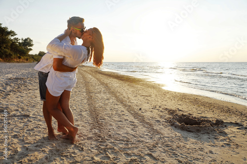 two lovers on beach  - 167217469