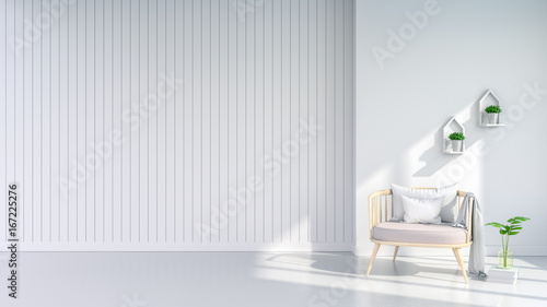 Minimalist and scandinavian Style , cozy living room Interior, Pastel pink armchair on white wall ,3d render © LEKSTOCK 3D