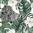 Watercolor painting seamless pattern with tropical deliciosa leaves, hibiscus flowers and zebra