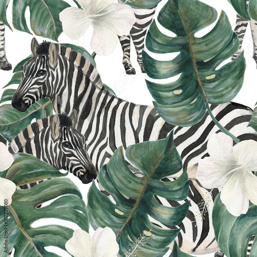 Watercolor painting seamless pattern with tropical deliciosa leaves, hibiscus flowers and zebra © ramiia