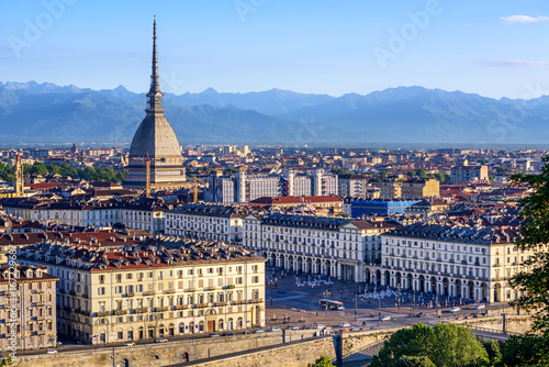 Wall mural Cityscape of Turin and Alps mountains, Turin, Italy