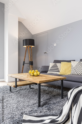 Wooden and gray living room