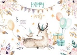 Cute baby deer nursery animal isolated illustration for children. Bohemian watercolor boho forest deer family drawing, watercolour image. Perfect for nursery posters, patterns. Birthday invitation - 167250813