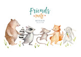 Hand drawn watercolor owl, mouse and bird dancing animals. Boho nursery decoration illustrations, music trendy art. Perfect for fabric design. - 167252654