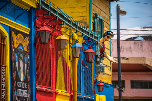 Canvas Buenos Aires Street iron lanterns are painted in different colors. Shevelev.