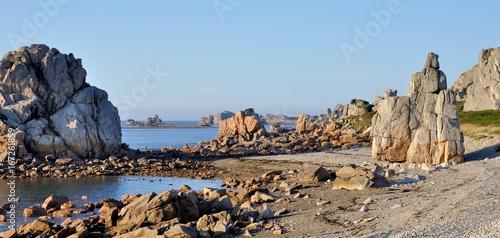 Spoed canvasdoek 2cm dik Blauwe hemel Paysage de mer à Plougrescant en Bretagne