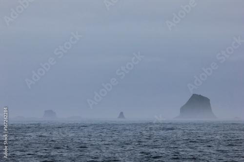 Mountains in fog, Antarctic Peninsula landscape, Antarctica