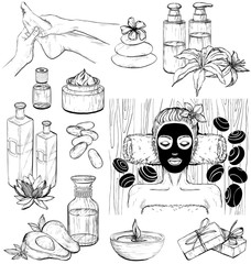 Vector set of spa icons. Sketch