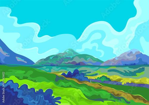 Spoed canvasdoek 2cm dik Turkoois Landscape, Vector illustration