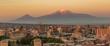 City skyline of Yerevan at sunrise, with Mt Ararat in background